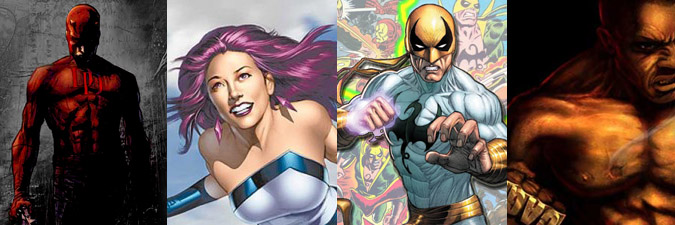 Daredevil, Jessica Jones, Iron Fist, Luke Cage