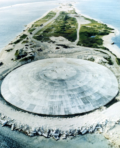 Закрытый кратер после ядерных испытаний