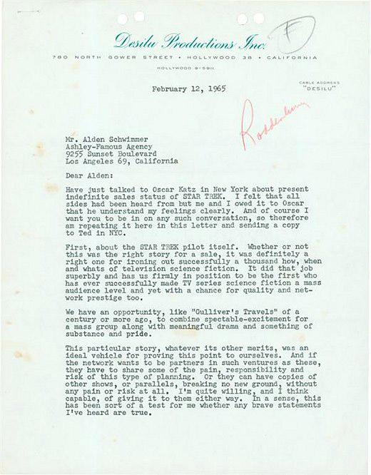 Письмо Джина Родденберри