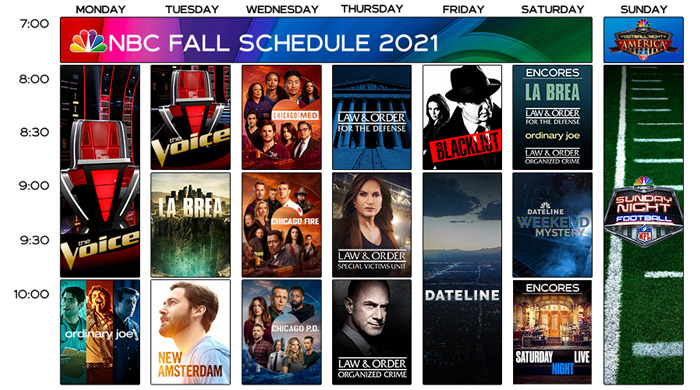 Расписание NBC на осень 2021
