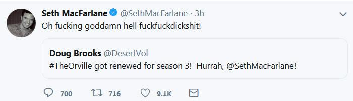 Сет МакФарлейн реагирует на продление Орвилла
