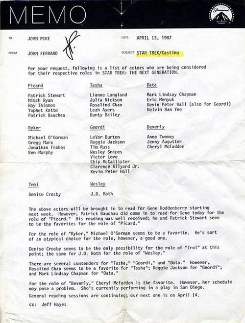 Записка 1987 года со списком кандидатов на роли в Звездном Пути: Следующее Поколение